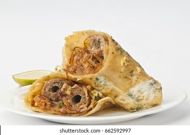 Mutton kathi rolls with fresh salad