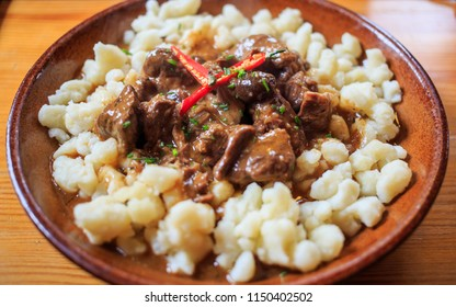 mutton stew with halusky or gnocchi slovak traditional food