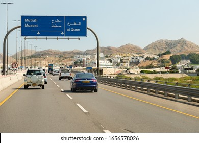 Muttrah, Oman - February 10, 2020: The Highway connection Muscat and Mutrah. Sultanate of Oman, Middle East
