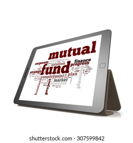 Mutual fund word cloud on tablet image with hi-res rendered artwork that could be used for any graphic design.