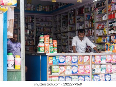 Muzaffarpur, India - February 21, 2019: A man sitting in his shop to sell th items in a rural area in India.