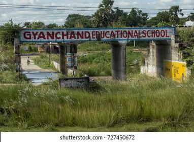 Muzaffarpur, India - September 25, 2017: Signboard of a school campus.