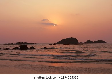 Muzhappilangad drive-in beach, Kannur, Kerala, IndiaSep-22 2018. Taken from Asias biggest drive in beach during sunset