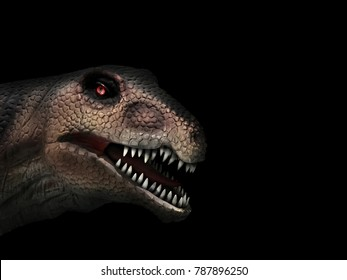 muzzle of a dinosaur close-up on a black background