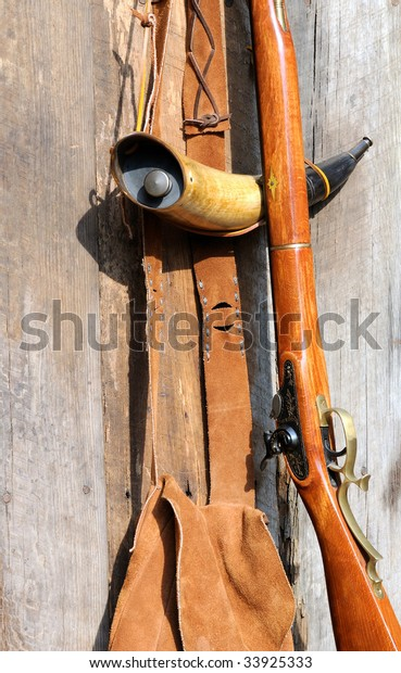 Muzzleloader Powder Horn Hunting Bag Stock Photo (Edit Now