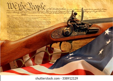 muzzleloader rifle with constitution and flag