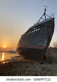 MV Dayspring built 1975 used for fishing, renamed Golden Harvest. Wrecked in 2011 and now known as The Corpach Wreck. Lies on the beach of Loch Linnhe near Fort William in the Scottish Highlands.