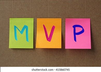MVP (Mitral Valve Prolapse) acronym on colorful sticky notes