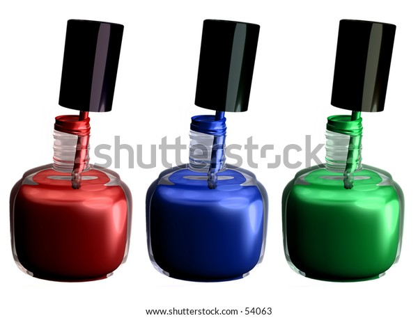 My 3D rendering of 3 bottles of nail polish. Red, blue, green.
