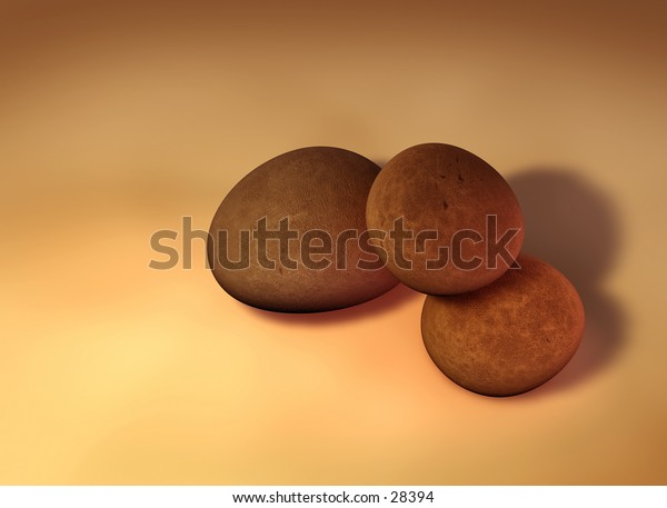 My 3D rendering of 3 single pebbles on a solid background.