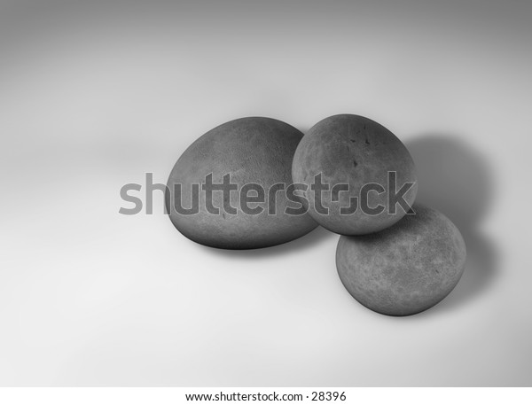 My 3D rendering of 3 single pebbles on a solid background. B&W version.