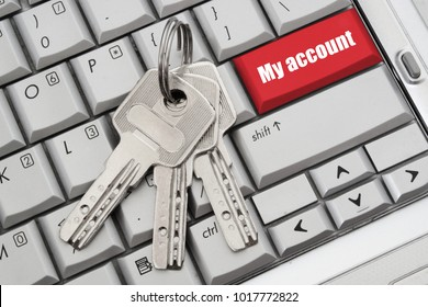 My account button on laptop keyboard with keys