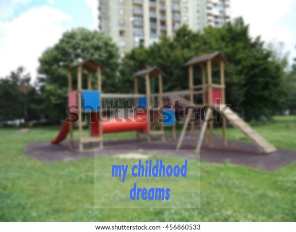 my childhood dreams background childrens playground stock photo