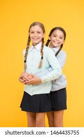 My dear friend. First school day. Sisterhood and friendship. School friendship. Support and friendship. Friendly relationship. Friendship goals. Cute school girls classmates. Cheerful mood concept.