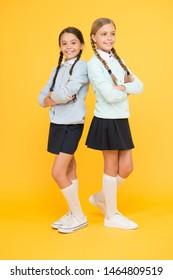 My dear friend. First school day. Sisterhood and friendship. Cheerful mood concept. School friendship. Support and friendship. Friendly relationship. Friendship goals. Cute school girls classmates.