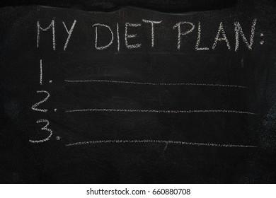 My diet plan list drawn with chalk on blackboard