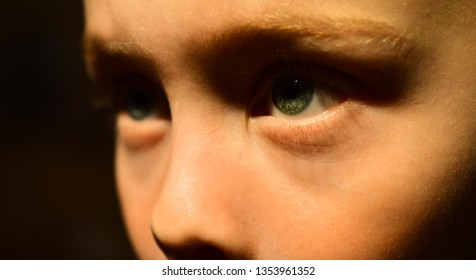 My eyesight is poor. Little boy with poor eye health. Small boy wear contact lens. Eyesight checkups at oculist. Eye tests at oculist. Childhood health care. Take care of your eye health.