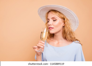 My favorite carbonated beverage! Close up photo portrait of beautiful pretty gentle tender sweet lovely lady tasting expensive drink holding in hand isolated on pastel bright color background