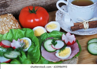 My grandmother's sandwiches with lettuce and cucumber ham