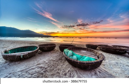 My Khe beach is a beautiful beach in Danang city ,  Vietnam.  The sunrise is on creels , ( fishing boats in Vietnam ).  My Khe Beach is in  Top 6 beautiful beach in the World By Forbes Magazine.