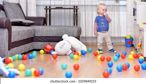 It's my life concept. Small boy in children's room.