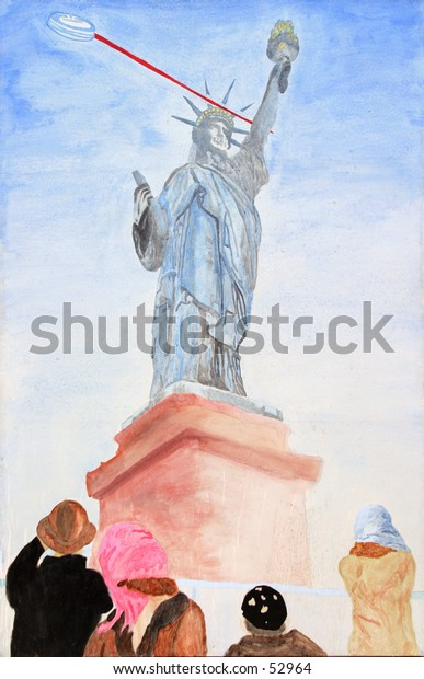 "my origional artwork, titled ""Backward Justice"" accrylic on canvis, depicting a Flying Saucer shooting a lazer beam at the Satue of Liberty with people watching. cropped"