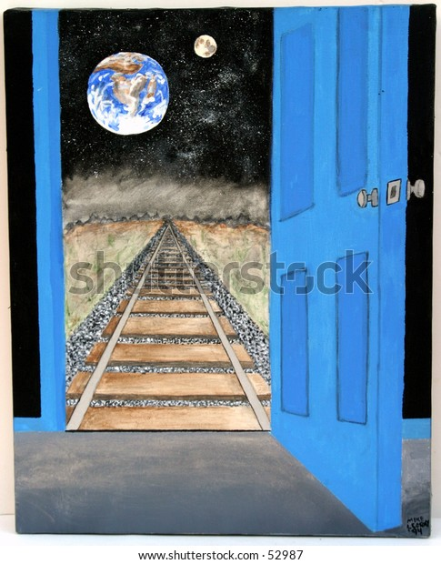 "my origional artwork, titled ""View From Beyond"". Accrylic on canvis depicting Earth the Moon, the sky with stars a railroad track going into the vanishing point with a open door opening to points unknown"