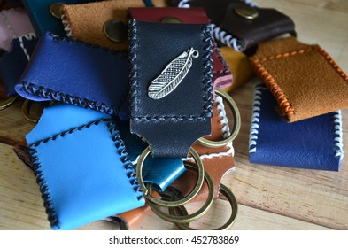 My product handmade key ring and small bag made from leather made at my house in Nonthaburi, Thailand.