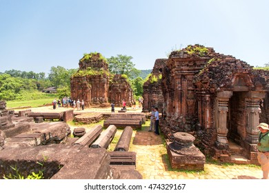 My Son, Vietnam - August 8, 2015: Remains of Hindu tower-temples at My Son Sanctuary, a UNESCO World Heritage site in Vietnam.
