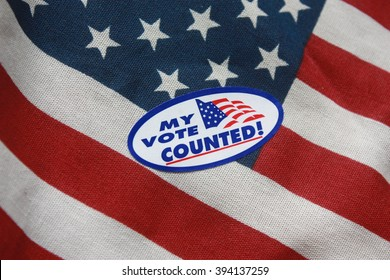 My Vote Counted Sticker on American Flag