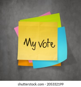 """my vote"" text on sticky note paper"