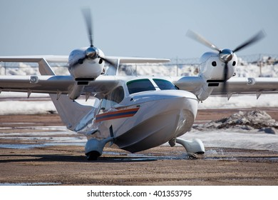 MYACHKOVO, MOSCOW REGION, RUSSIA - APRIL 13, 2013: Training flights at the airfield Myachkovo. Chaika L-44