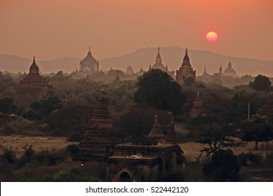 Myanmar Bagan pagodas temples overview sunset F