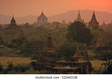 Myanmar Bagan pagodas temples overview sunset E