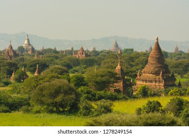 Myanmar. Bagan. The plain of Bagan is dotted with hundreds of temples.