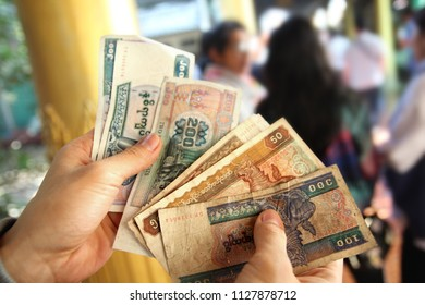 Myanmar banknotes (MM, MMR ,Kyat)  were unfolded in hand