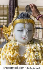 Myanmar / Burma buddha in Songkran festival Myanmar