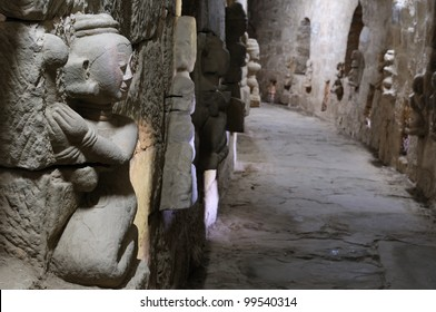 Myanmar (Burma), Mrauk U temples. Dukkanthein Paya - built by King Minphalaung in 1571 in particulary troubled times, Dukkanthein's interior features spiralling cloisters lined with images of Buddha