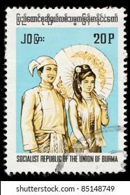 MYANMAR - CIRCA 1989: A stamp printed in Myanmar shows image of Burma Costumes, Union of Burma, circa 1989