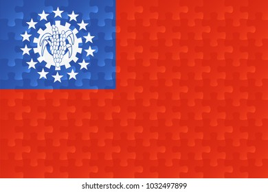 myanmar flag jigsaw puzzles illustration.