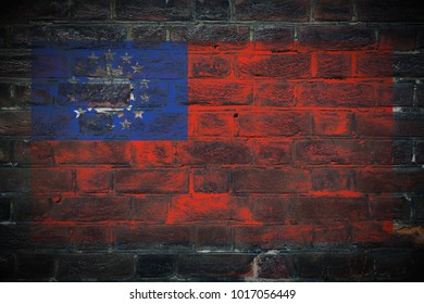 Myanmar flag painted on dark_old_grungy_brick_wall texture background