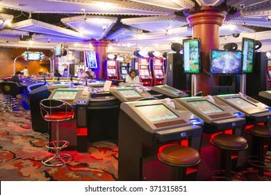 MYANMAR - JANUARY 11,2016 : slot machines in play room at Grand Andaman Hotel at Myanmar on January 11, 2016, gambling casino