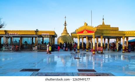 Myanmar, Kyaiktiyo. Circa October, 2018 : Tourists make merit to worship at the famous Golden Rock.Myanmar.