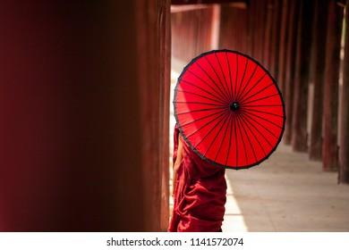 Myanmar Novice monk walking together in ancient pagoda Bagan Mandalay