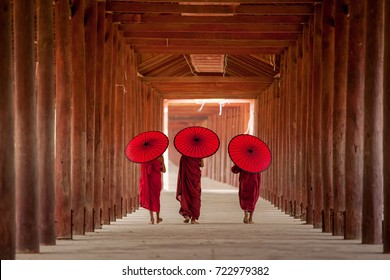 Myanmar Novice monk walking together in ancient pagoda Bagan Mandalay The Buddhism  And landmark of tourism in Asian.