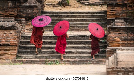 Myanmar Novice monks are walking in pagoda the temple salay Burma.