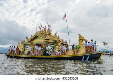 myanmar oct 6 : karaweik boat in during festival of Paung Daw on october 06,2014 in Inle lake,Myanmar