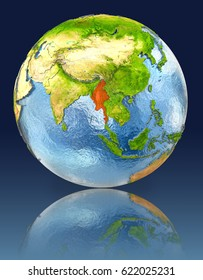 Myanmar on globe with reflection. Illustration with detailed planet surface. Elements of this image furnished by NASA.