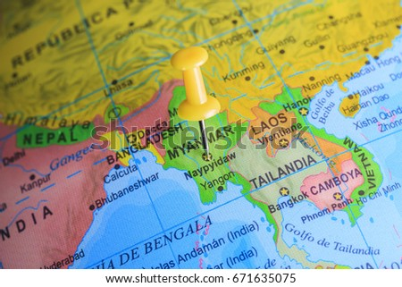 Myanmar On Map Of Asia.Myanmar Pinned On Map Asia Stock Photo Edit Now 671635075