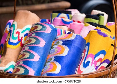 Myanmar Sarong shop in market, colorful sarong available in small shop and sell by small business owner